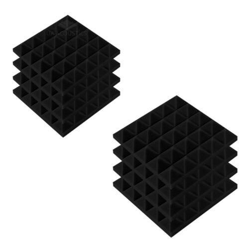 Акустические панели «Пирамида 50» 25*25 см. Комплект — 8 шт. Черный графит
