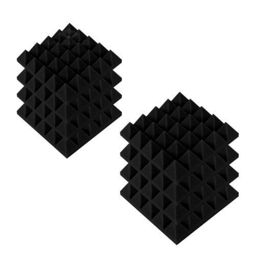 Акустические панели «Пирамида 70» 25*25 см. Комплект — 8 шт. Черный графит