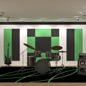 Звукопоглощающий акустический поролон зеленого цвета в помещении